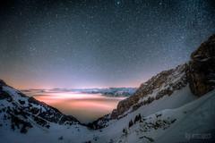^ Pilatus: Sea of fog by night ^ (dmkdmkdmk) Tags: moon alps nature fog night landscape switzerland nikon mount pilatus hdr d800 seaoffog pilatuswinterchilchsteinenschneenachtnebelmeer