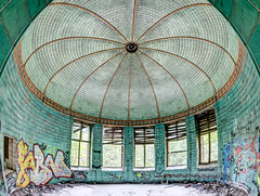 The green dome Explore (odin's_raven) Tags: light urban green abandoned photoshop germany photography graffiti nikon dynamic decay fisheye spooky photograph urbanexploration dome inside sanatorium raven 16mm asylum derelict hdr highdynamicrange decayed urbanexploring ue urbex sanitorium abandonedhospital photomatix nikor beelitz odins abandonedasylum d700 heilsttten talkurbex odinsraven odinsravenphotography