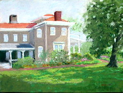 Peel Mansion -plein air in May -pastel
