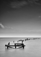 Old Swanage Pier - B+W (JamboEastbourne) Tags: old bw white black monochrome pier wooden rotten swanage doreset