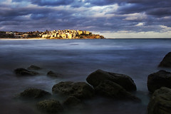 Bondi, Sydney NSW (djshanu) Tags: ocean longexposure sea sky beach bondi night clouds landscape evening rocks cloudy sydney canondslr seabeach
