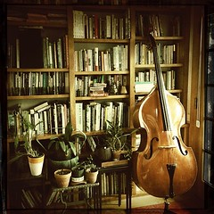 """Beautiful #instrument #bass #acoustic #books #bookshelves @turbo49 • <a style=""""font-size:0.8em;"""" href=""""https://www.flickr.com/photos/61640076@N04/8619418809/"""" target=""""_blank"""">View on Flickr</a>"""