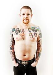 Wil-Hodgson-Tats-035 (Care Bear Punk) Tags: bear boy man ginger breasts punk nipples geek madonna ska spice rude belly soul topless trojan northern chubby bearded skinhead moobs