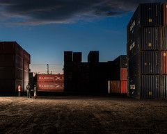 containers (keunerr) Tags: color contrast mexico atardecer twilight mexicocity df box hamburg down caja container boxes contenedor anochecer