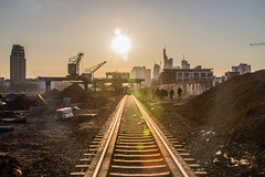 Railway to Frankfurt (Fabian W) Tags: sunset skyline constructionarea crane frankfurt main railway baustelle mainhattan 600d