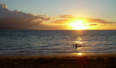 Tropical Sunset from Maui, Keawakapu Beach (I'm cindylouwho2) Tags: ocean sunset orange usa water hawaii sand surf maui pacificocean swimmer kihei vacationphoto tropicalbeach tropicalsunset vacationspot keawakapubeach mauioceanfrontinn manakairesort
