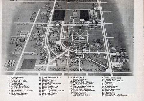 North Dakota Argricultural College (North Dakota State University) campus map, 1956