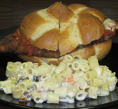 Chicken parmigiana sandwich and macaroni salad (Coyoty) Tags: food chicken college cheese bread salad cafe connecticut ct sandwich roll fried bun macaroni farmington mozzarella marinara parmigiana cornercafe tunxiscommunitycollege