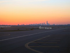 New York City Skyline at Sunset (Flame1958) Tags: travel sunset newyork skyline airport cityscape dusk tsa newyorkskyline runway bigapple thebigapple usvacation citybreak 0413 2013 ustravel usholiday 170413