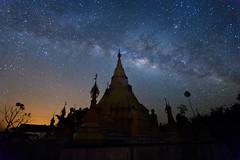 The milkyway and pagoda 5 (Noom HH) Tags: night landscape thailand star pagoda steel stupa myanmar nightsky nightscene milkyway  sangklaburi stlye
