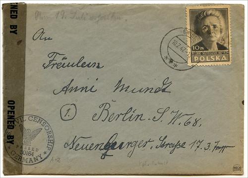 koperta z listem mieszkanki Świdwina z 10 lipca 1947 roku Schivelbein