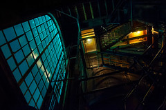 Steam Plant Stairwell (Gabriel Tompkins) Tags: old urban usa window lines metal stairs dark washington nikon rust iron spokane downtown interior landmark stairwell pacificnorthwest historical steamplant nikkor washingtonstate lowkey pnw renovated 18105 d90 2013 inlandnorthwest 18105mm nikond90 18105mmf3556gvr tronam gabrieltompkins