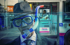 The 8:41 (sophie_merlo) Tags: underwater drowning life work commute commuter commuting man business struggle stress mentalhealth surreal fantasy model male guy concept conceptual digitalart conceptart bristol bus businessman diver scuba diving overwhelmed suffocated travel transport water city composite photoshop art