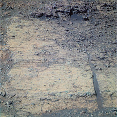 Straight Crack (sjrankin) Tags: 16august2016 edited nasa colorized rgb mars opportunity bands257 endeavourcrater crack