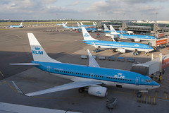 KLM Boeing 737-700 PH-BGK, 17-Jul-2016 (Sergey Kustov) Tags: airport airfield aerodrome ramp apron gate runway taxiway airplane aircraft airliner jet airline netherlands holland schiphol ams eham amsterdam klm royal dutch airlines boeing 737700 phbgk overview panorama