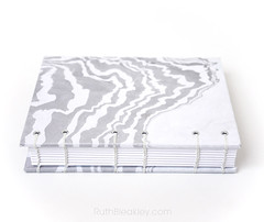 Travel Journal with Marbled Paper that lays flat for writing Handmade by Ruth Bleakley - 4 (MissRuth) Tags: suminagashi marbling marbledpaper copticstitchjournal copticjournal blackandwhite bookbinding handmadebook handmadejournal blackandwhitejournal