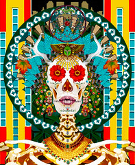day of the dead (susancvineyard) Tags: lareinadelosmuertos offerings honor dead dayofthedead muerto skeleton mexican incense holiday diadelosmuertos souls death celebrate cemetery symbol candles altar skull