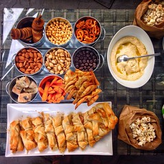 I have friends that like food compositions. (Mad Mou) Tags: snacks summer toasted tin presentation popcorn chocolate pistachios almonds pretzels carrots driedfigs bread braided pastry food nibbles