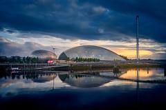 Sunset in Glasgow (kleptografy) Tags: europe uk scotland glasgow unitedkingdom reflection water river blue light architecture building city cityscape totalphoto
