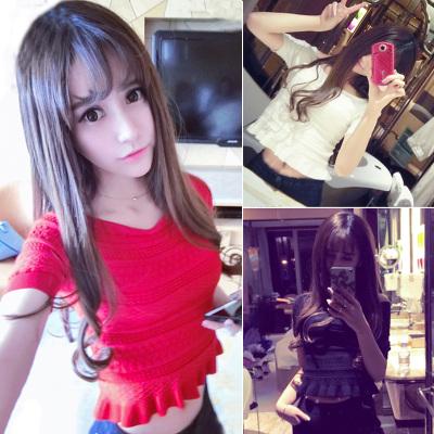 Spring/summer 2016 new Korean sweet neck strapless short bi-elastic Joker t-shirt woman short sleeves knitted blouse