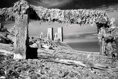Reculver (Sean Hartwell Photography) Tags: reculver kent england stmarys church beach seaside sea seaweed framed blackandwhite monochrome ir infrared canoneosm 22mm