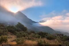 Prvn paprsky (jirka.zapalka) Tags: mountain croatia biokovo landscape fog sun morning village stone trees podgora