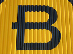 B (kenjet) Tags: letter b alphabet sign yellow black metal panel corrugated corrugatedmetal