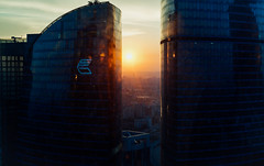18141-1 (i.gorshkov) Tags: urban travel architecture moscow city skyscraper sunset sun sky clouds orange horizon beautiful view hotel room indoor outdoor business dawn evening building cityscape blue