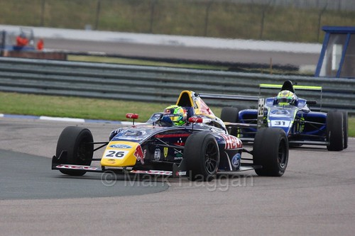 Luis Leeds leads Max Fewtrell in British Formula Four at Rockingham, August 2016