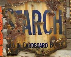 Sold in cardboard boxes (FujiRob) Tags: starch sign rust fujifilmxe2 beamish cardboardbox faded beamishopenairmuseum