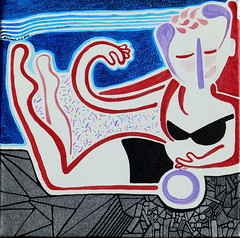 'sunbath on sea-ment' (gtglanz/art) Tags: ocean blue newmexico art water colors women thought originalart contemporaryart drawings dreams expressionism expressionist z imaginary acrylics visionaryart womensart healingart spontaneousart contemporarypaintings feministart sharingart gaylephotos gtglanzart gayleglanzcom gayleglanz