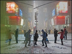 """""""Posing in the Snow""""  Times Square, NYC (TravelsWithDan) Tags: nyc nightphotography urban snow newyork candid ngc snowstorm streetphotography timessquare worldtrekker"""