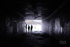 Light and Dark (Mikayel Phat Nguyen) Tags: street friends light people urban blackandwhite white black silhouette dark photography graffiti cool paint shadows view tunnel skate skateboard skater