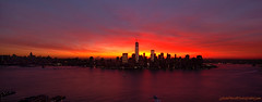 NYC sunrise Feb 22nd 2013 (Jason Pierce Photography) Tags: lowermanhattan sunrise feb22nd2013 22213 pinksky new york newyorkcity skyline twilight morning hudson river glow sun fiery skyscrapers nyc jasonpiercephotography jersey city rooftop penthouse 1 wtc world trade center stratusclouds atlocumulousclouds photographyforrecreation cityscape cityscapes nyccityscapes newyorkcitycityscapes scape newyorkcityphotography