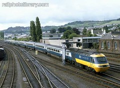 M018-00266 (railphotolibrary.com) Tags: old blue urban station train buildings scotland europe track diesel archive railway highland perth points british hst chieftain br1 uk1 43c crossovers