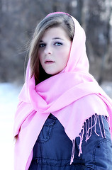 In the woods on a snowy afternoon (Photography by Vanessa R) Tags: pink blue winter portrait snow cold color face scarf canon intense eyes serious 85mm mysterious stare unlimited portraitunlimited