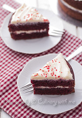 Red velvet cake (vanilllaph) Tags: birthday red food white macro cooking cake horizontal closeup recipe table dessert cookbook baking stand colorful sweet cut eating background cream cook tasty velvet gourmet celebration eat slice taste tasting ornate celebrate bake culinary celebrating baked decorated