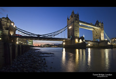 Tower Bridge (esslingerphoto.com) Tags: city longexposure greatbritain bridge blue light england reflection london beach wet water thames architecture night towerbridge river photography eos lights evening europe long exposure cityscape shot nightshot britain capital great architectural single hour 5d nightshots bluehour mkii mayorsoffice esslinger esslingerphotocom