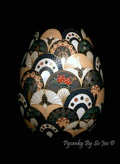 Cranes and Fans (so_jeo) Tags: art easter japanese gold fan leaf crane egg cranes fans gilded ukrainian batik chiyogami yuzen pysanka pysanky