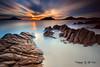 10 Minutes @ Little beach (Kiall Frost) Tags: ocean longexposure sun color colour water clouds sunrise bay sand nikon rocks australia le nsw streaks portstephens headland shoalbay littlebeach tomaree leefilters bigstopper kiallfrost d800e