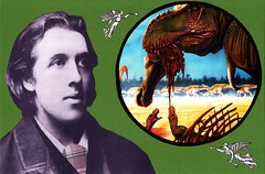 oscar wilde looks into the deep past (Fi Webster) Tags: collage oscarwilde postcard angels mailart trumpets tyrannosaur swapbot hadrosaur