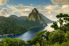 Piton View (Baggers 2013) Tags: travel blue sea sky mountains hot green clouds dawn october rainforest rocks warm colours sticky rich earlymorning stormy jungle tropical caribbean lush tropics stlucia steep soufrire pitons soufriere saintlucia holday flickrchallengegroup flickrchallengewinner hurricanseason