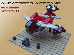 Albatross Airframe - Bomber (Harding Co.) Tags: red white grey flying wings lego space military cockpit scifi spaceship bomber microscale
