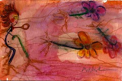 4x6_Blood Veins Hair Sky Flowers Flying (Neuro Detour) Tags: flowers orange woman selfportrait abstract cane watercolor person blood colorful roots blues greens myart veins yellows reds jog worksonpaper signed purples 4x6 myblood 2013 permacath portacath2protruding senttojog soloimage