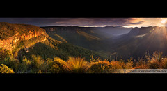 The View Of The Land || BLACKHEATH (rhyspope) Tags: aussie australia blackheath grosevalley mountain bluemountains sunrise sunset panoramic pano stitch plant light hdr rhyspope canon 500d flare burst sun sky cloud weather view vista clifftop cliff tree