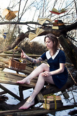 Book Birds (Lina HellYeah) Tags: blue winter snow tree art girl birds book flying woods tit dress levitation bookbirds