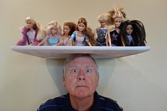 Portrait of a Man Who Likes to Balance Barbies on His Head (ricko) Tags: selfportrait me dolls barbies balancing werehere mdpd2013 mdpd1304 haleysdolls