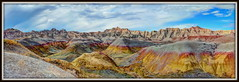 Panorama 23 (mastrfshrmn) Tags: red sky panorama mountain green colors wall clouds southdakota dessert desert loop wildlife ridge valley badlands dust majestic blueyellow