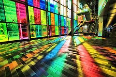 Explosion of Color in Montreal, Canada (` Toshio ') Tags: city blue canada color green glass yellow stairs rainbow colorful cityscape montreal interior indoor canadian stairway stained conventioncenter conferencecenter toshio palaisdecongrs