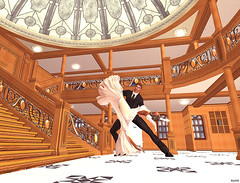 Titanic Dance (Bleem Belargio) Tags: stairs dance ship dancing formal staircase ballroom beautifulwoman titanic ballroomdancing rmstitanic titanicstaircase